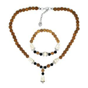 Ganitrus, White Howlite, Lava Stone Beads Silvertone Necklace and Bracelet (Stretchable)