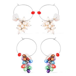 Set of 2 Freshwater Multi Color Pearl, Red Glass, White Shell Silvertone and Stainless Steel Hoop Earrings