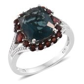 Belgian Teal Fluorite, Mozambique Garnet Platinum Over Sterling Silver Split Ring (Size 9.0) TGW 7.76 cts.