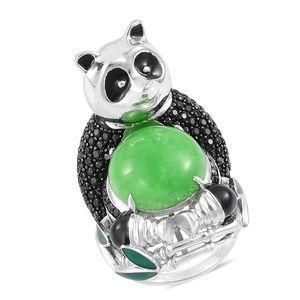 Burmese Green Jade, Thai Black Spinel Black Rhodium Sterling Silver Panda Ring (Size 10.0) TGW 14.95 cts.