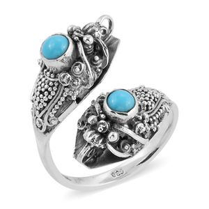Bali Legacy Collection Arizona Sleeping Beauty Turquoise Sterling Silver Bypass Ring (Size 7.0) TGW 0.88 cts.