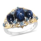 Thai Blue Star Sapphire, Electric Blue Topaz 14K YG and Platinum Over Sterling Silver Ring (Size 7.0) TGW 7.97 cts.