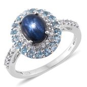 Thai Blue Star Sapphire, Electric Blue Topaz, White Topaz Platinum Over Sterling Silver Ring (Size 7.0) TGW 4.10 cts.
