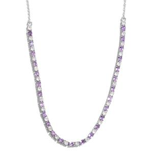 Mauve Sapphire, Cambodian Zircon Platinum Over Sterling Silver Necklace (18 in) TGW 9.37 cts.