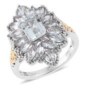 Espirito Santo Aquamarine 14K YG and Platinum Over Sterling Silver Floral Ring (Size 10.0) TGW 3.35 cts.