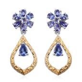 Tanzanite 14K YG and Platinum Over Sterling Silver Drop Earrings TGW 2.43 cts.
