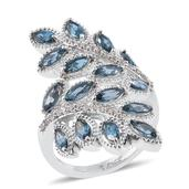 London Blue Topaz, Cambodian Zircon Platinum Over Sterling Silver Ring (Size 7.0) TGW 5.28 cts.