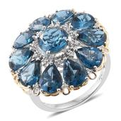 Dan's Collector Deals London Blue Topaz, Cambodian Zircon 14K YG and Platinum Over Sterling Silver Ring (Size 7.0) TGW 15.10 cts.