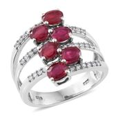 Niassa Ruby, Cambodian Zircon Platinum Over Sterling Silver Openwork Bypass Ring (Size 8.0) TGW 4.01 cts.