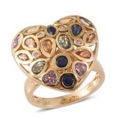 Karen's Fabulous Finds Multi Sapphire 14K YG Over Sterling Silver Heart Ring (Size 8.0) TGW 4.36 cts.