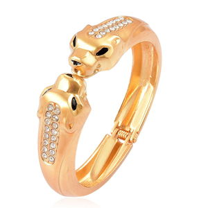 White Austrian Crystal Goldtone Bangle (7 in) TGW 2.00 cts.