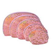 Set of 5 Satin Multi Use Zipper Nesting Pouches with Floral Scroll Embroidery-Pink
