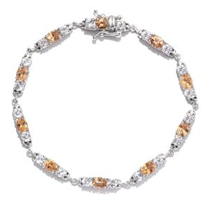 Imperial Topaz, White Topaz Platinum Over Sterling Silver Bracelet (7.50 In) TGW 9.21 cts.