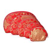 Set of 5 Satin Multi Use Zipper Nesting Pouches with Floral Scroll Embroidery-Red