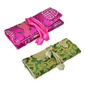 Embroidered Green and Fuschia Polyester and Silk Jewelry Roll Travel Organizer Bag (10.5x8 in)