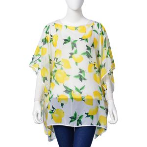 White and Yellow Lemon and Leaf Pattern 100% Polyester Multi-Wear Sheer Poncho (One Size)