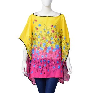 Yellow and Pink Floral Print 100% Polyester Poncho (56x40 in)