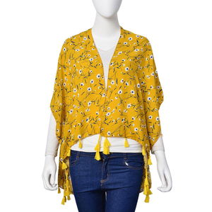 Mustard Yellow with White and Blue Flower Pattern 100% Viscose Kimono with Tassels (Free Size)