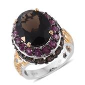 GP Brazilian Smoky Quartz, Orissa Rhodolite Garnet 14K YG and Platinum Over Sterling Silver Ring (Size 6.0) TGW 13.14 cts.