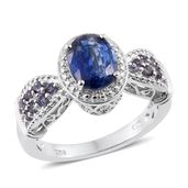 Himalayan Kyanite, Catalina Iolite, Cambodian Zircon Platinum Over Sterling Silver Ring (Size 9.0) TGW 2.92 cts.