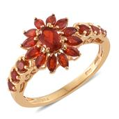 Crimson Fire Opal 14K YG Over Sterling Silver Ring (Size 5.0) TGW 1.26 cts.