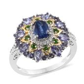 Himalayan Kyanite, Multi Gemstone 14K YG and Platinum Over Sterling Silver Ring (Size 6.0) TGW 2.58 cts.
