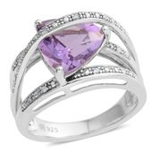 Amethyst, Diamond Accent Sterling Silver Ring (Size 7.0) TGW 3.06 cts.