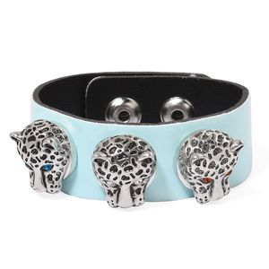 Blue Faux Leather, Multi Color Austrian Crystal Silvertone Snap On Button Bracelet with Set of 3 Leopard Head Charms (7.00-9.00in)