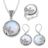 Opalite Black Oxidized Stainless Steel Lever Back Earrings, Ring (Size 10) and Pendant With Chain (20 in) TGW 85.00 cts.