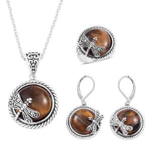 South African Tigers Eye Black Oxidized Stainless Steel Lever Back Earrings, Ring (Size 9) and Pendant With Chain (20 in) TGW 90.00 cts.