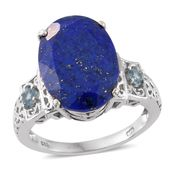 Lapis Lazuli, Electric Blue Topaz Platinum Over Sterling Silver Ring (Size 8.0) TGW 12.80 cts.