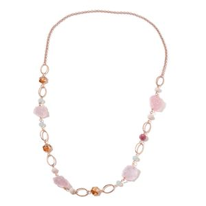 Rough Cut Galilea Rose Quartz, Multi Color Glass, Pink Austrian Crystal Rosetone Necklace (39 in) TGW 301.00 cts.