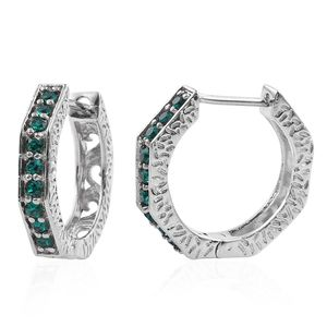 KARIS Collection - Platinum Bond Brass Huggie Hoop Earrings Made with SWAROVSKI Green Crystal