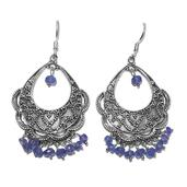 Artisan Crafted Tanzanite Sterling Silver Dangle Earrings TGW 11.35 cts.