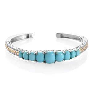 Kingman Blue Turquoise, Cambodian Zircon 14K YG and Platinum Over Sterling Silver Cuff (7.25 in) TGW 13.47 cts.