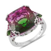 Watermelon Quartz, Russian Diopside, Ruby Platinum Over Sterling Silver Ring (Size 6.0) TGW 18.70 cts.