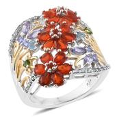 Crimson Fire Opal, Multi Gemstone 14K YG and Platinum Over Sterling Silver Ring (Size 6.0) TGW 2.98 cts.
