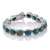 Mojave Blue Turquoise Platinum Over Sterling Silver Bracelet (6.50 In) TGW 45.34 cts.