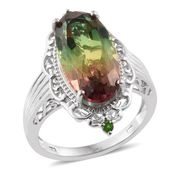 Rainbow Genesis Quartz, Russian Diopside Platinum Over Sterling Silver Ring (Size 7.0) TGW 11.85 cts.