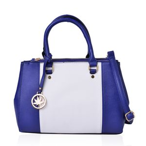Blue and White Faux Leather Satchel Bag (12.5x4x9.1 in)