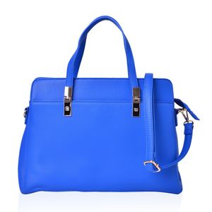 Royal Blue Faux Leather Handbag with Standing Studs and Removable Strap (14x5.5x10 in)
