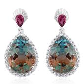 Aqua Terra Costa Quartz, Orissa Rhodolite Garnet, Cambodian Zircon Platinum Over Sterling Silver Earrings TGW 27.80 cts.