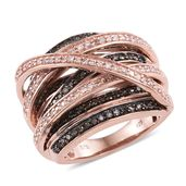 Natural Pink and Champagne Diamond Black Rhodium & 14K RG Over Sterling Silver Criss Cross Ring (Size 7.0) TDiaWt 1.00 cts, TGW 1.00 cts.