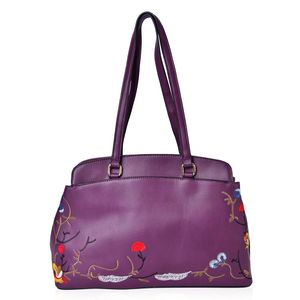 Purple Faux Leather Eye-Catching Embroidery Floral Pattern Trapezoid Bag with Standing Studs (14x4.5x9.5 in)