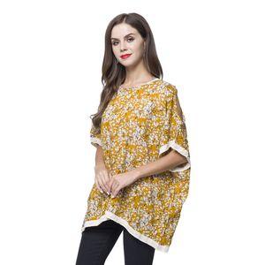 Mustard and Beige Cotton Bush Pattern 100% Viscose Boat Neck, Cold Shoulder Blouse (Free Size)