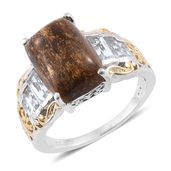 Australian Goldflake Feldspar, White Topaz 14K YG and Platinum Over Sterling Silver Ring (Size 9.0) TGW 9.90 cts.