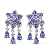 Tanzanite, Cambodian Zircon Platinum Over Sterling Silver Dangle Earrings TGW 3.15 cts.