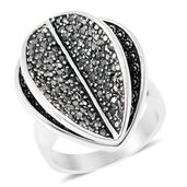Hematite Black Oxidized Stainless Steel Leaf Ring (Size 10.0) TGW 1.88 cts.