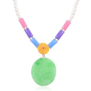Burmese Multi Color Jade Carved, Freshwater Pearl Sterling Silver Necklace (18 in) TGW 231.58 cts.