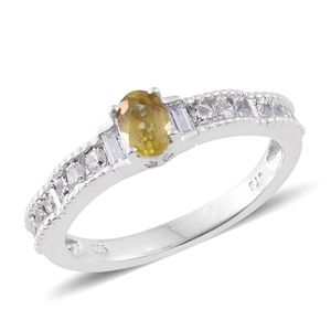 Madagascar Sphene, Cambodian Zircon Platinum Over Sterling Silver Ring (Size 7.0) TGW 0.95 cts.